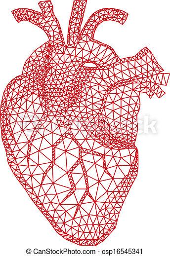 Herz mit geometrischem Muster, vecto. - csp16545341