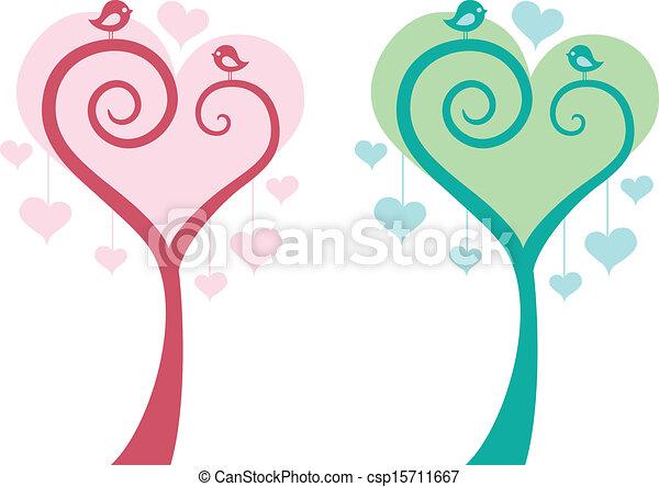 Herzbaum mit Vögeln, Vektor. - csp15711667