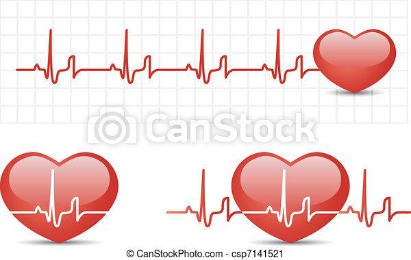 Herzkardiogramm mit Herz - csp7141521