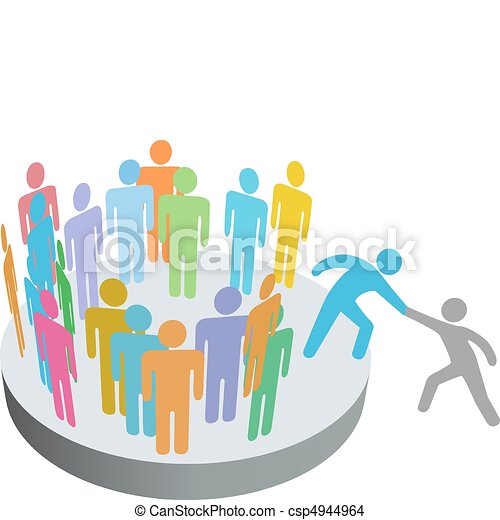 Hilfskräfte helfen Menschen bei der Gesellschaftsgruppe - csp4944964