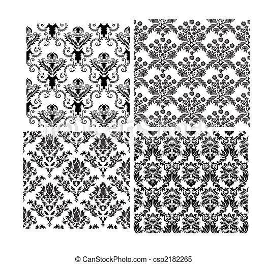 hintergruende, seamless, damast, satz - csp2182265