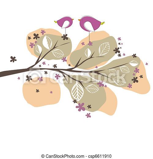 Hintergrund mit Vögeln, Baum. Vektor Illustration - csp6611910
