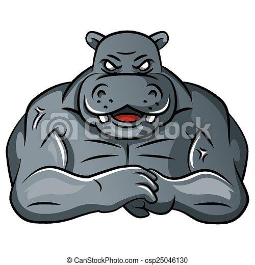 Hippo starkes Maskottchen. - csp25046130