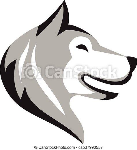 Husky Hundekopf Retro. - csp37990557