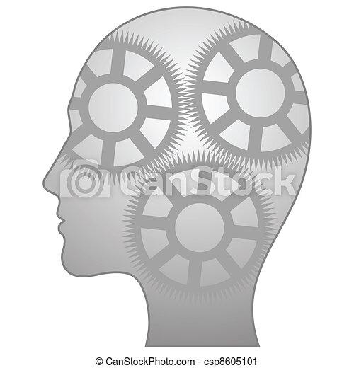 Illustration eines einzelnen denkenden Mannes - csp8605101