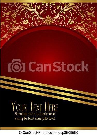Königlicher burgunderroter Hintergrund mit ornatem Goldblatt - csp3508580