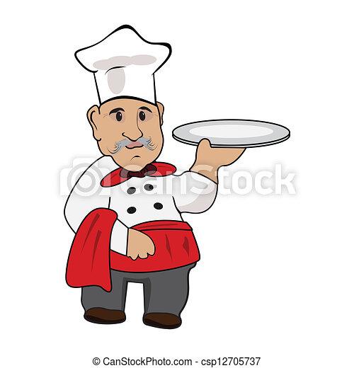 küchenchef, platte, koch, seine, hand - csp12705737
