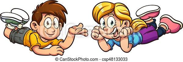 karikatur, kinder - csp48133033