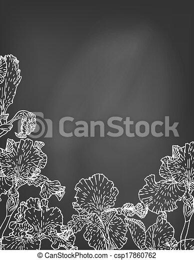 Karte mit hand gezeichneten Irisblumen auf Kreidetafel. - csp17860762