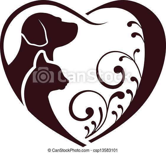 Katzenhund liebt Herz - csp13583101