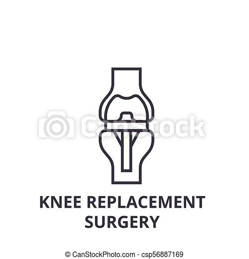 Knee Ersatzchirurgie dünne Linie Icon, Zeichen, Symbol, Illustration, lineares Konzept, Vektor. - csp56887169