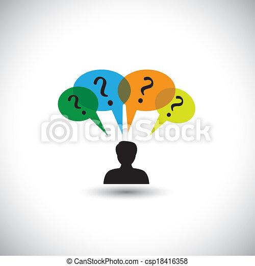 Konzept Vektor denken - Mann mit Sprachblasen & Fragen. Diese Grafik illustriert auch unbeantwortete Fragen, Zweifel, viele Gedanken, Untersuchungen usw - csp18416358