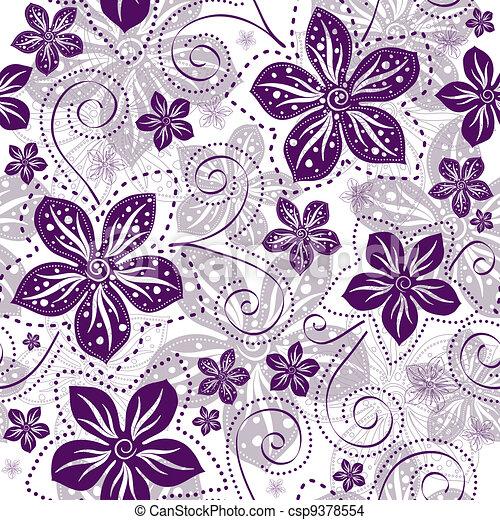 Leichtes weiß-violettes Blumenmuster - csp9378554