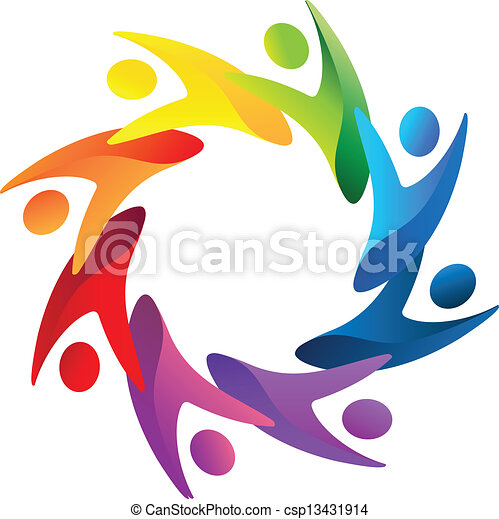Teamwork-Leute helfen Logovektoren - csp13431914