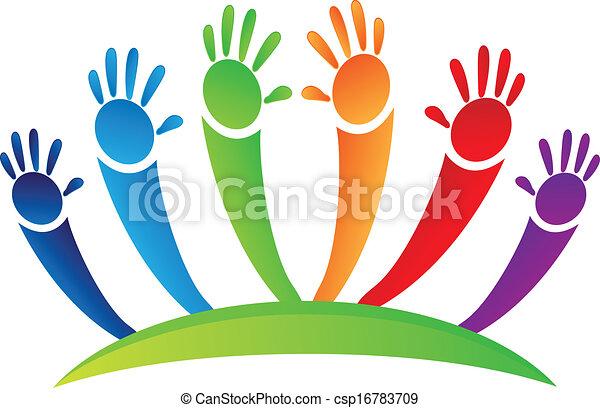 logo, hände, mannschaft - csp16783709