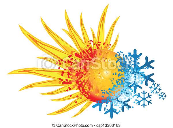 Logo heiß und kalt - csp13308183