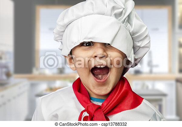 Lustiges Kind, als Koch verkleidet - csp13788332