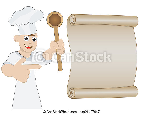 mann, hand, löffel, koch - csp21407947