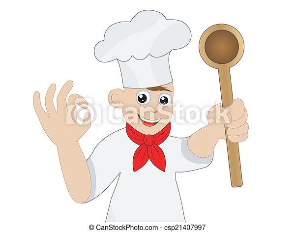Man kocht mit einem Löffel in der Hand - csp21407997