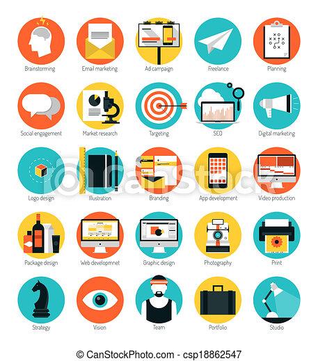 Marketing und Design Dienstleistungen flache Symbole gesetzt - csp18862547