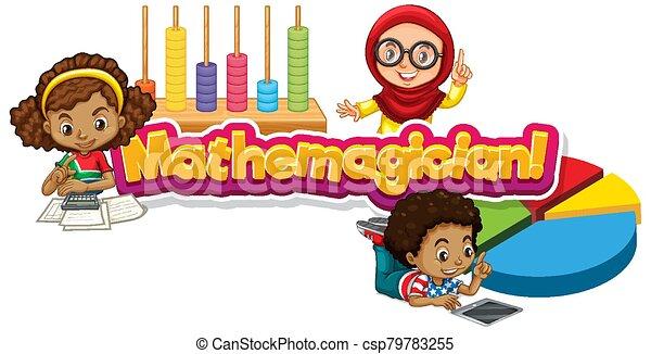 mathemagician, design, kinder, drei, schriftart, wort - csp79783255
