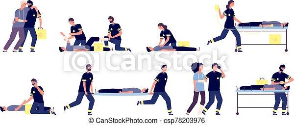 medizin, team., healthcare, leute., hilfe, paramedics., vektor, satz, zuerst, krankenwagen, sanitäter, betroffen, personal, portion, dienstleistungen, notfall - csp78203976