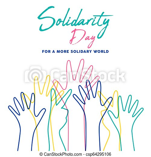 Menschliche Solidarität Tag bunte Hände illustrieren. - csp64295106