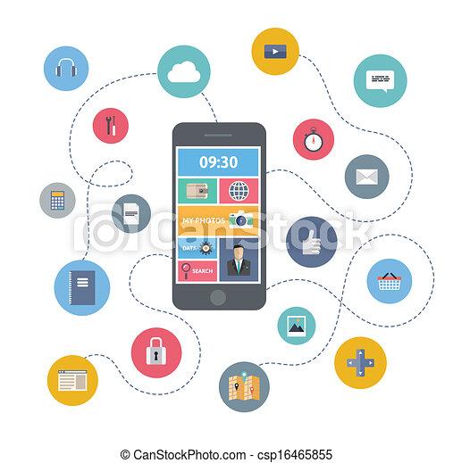 Mobile Kommunikation Illustrationskonzept - csp16465855