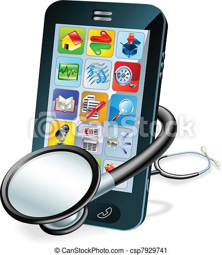 mobilfunk, begriff, gesundheit kontrolle - csp7929741