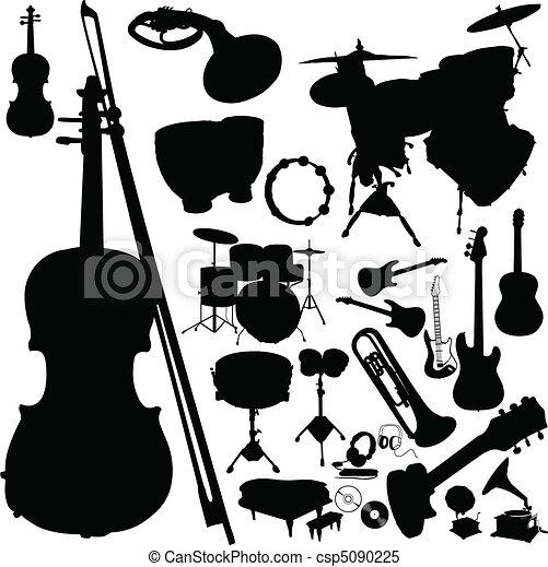 Musikinstrument Vektor Silhouettes - csp5090225