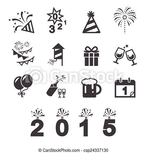 neu , ikone, glücklich, jahr - csp24337130