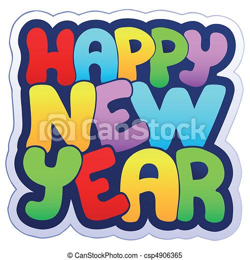 Frohes neues Jahr-Schild - csp4906365