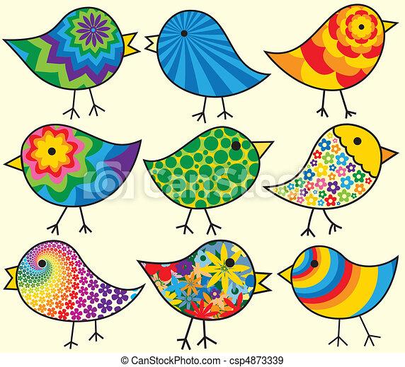 Neun farbenfrohe Vögel - csp4873339