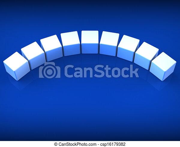Neun leere Würfel zeigen Kopien für neun Buchstaben - csp16179382