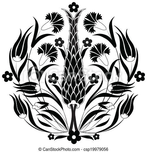 orientalisches otman design schwarz serie von mustern