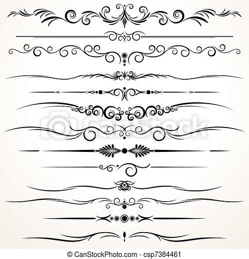 Ornamentale Regellinien in unterschiedlichem Design - csp7384461
