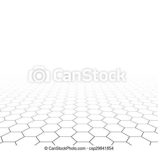 Perspektiver Raster hexagonale Oberfläche. - csp29841854