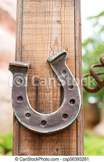 pferd, glücklich, pferdehufeisen - csp56393261