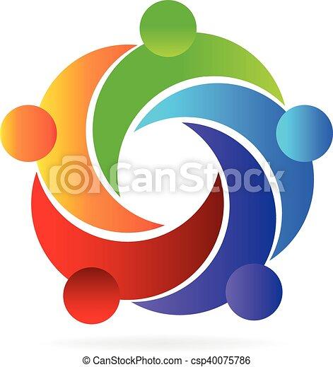 portion, logo, gemeinschaftsarbeit, leute - csp40075786