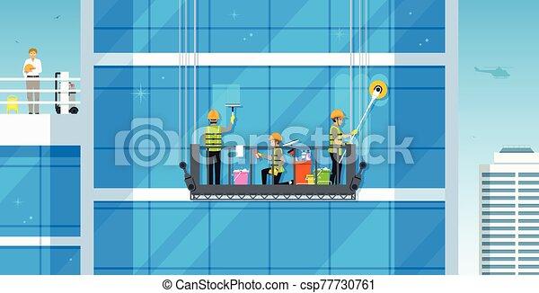 putzen, glas, gebäude - csp77730761