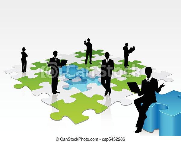 3D-Geschäfte bilden ein Puzzle zusammen - csp5452286