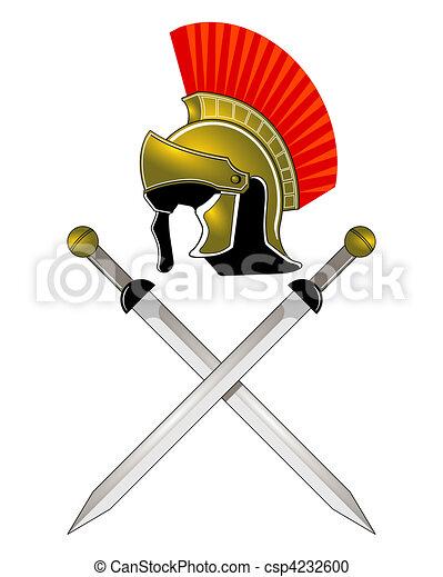 Römerhelm und Schwerter - csp4232600