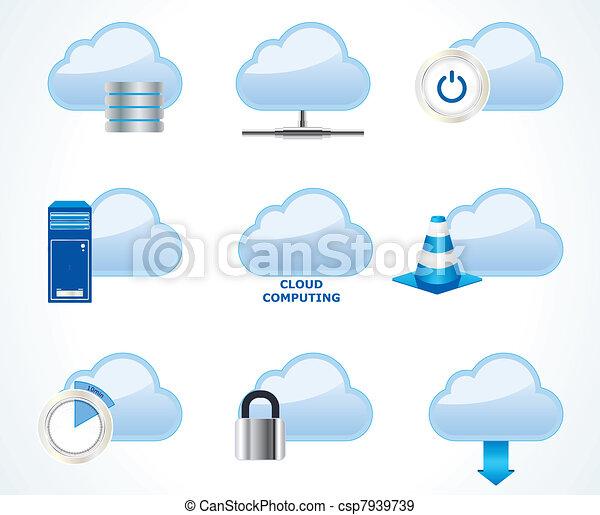 rechnen, wolke, satz, ikone, vektor - csp7939739