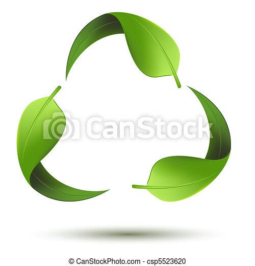 Recycle Symbol mit Blatt. - csp5523620
