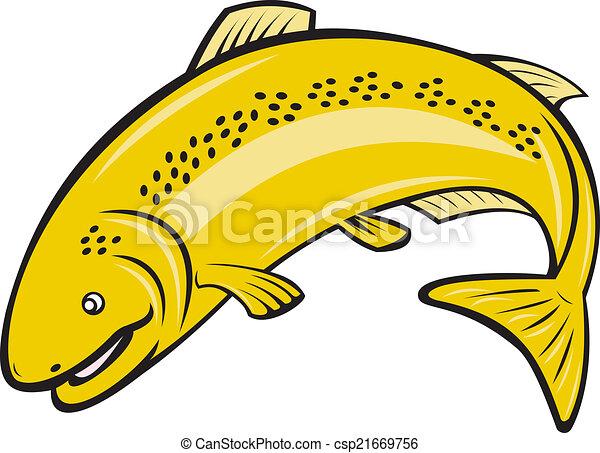 regenbogen, fische, springende , karikatur, forelle - csp21669756