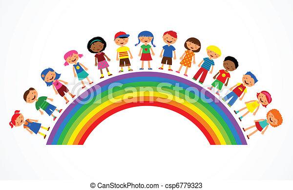 Regenbogen mit Kindern, bunte Vektor-Illustration - csp6779323