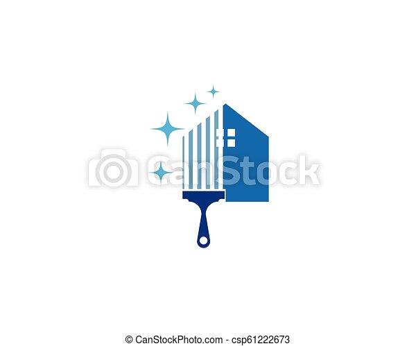 reiniger, logo, haus - csp61222673