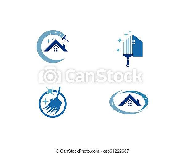 reiniger, logo, haus - csp61222687
