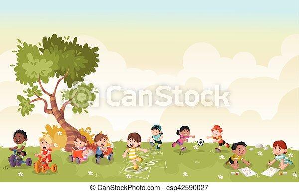 Grüne Graslandschaft mit süßen Cartoon-Kindern. - csp42590027