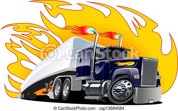 Vector Cartoon Semi Truck. Eine Klick-Reste - csp13684584